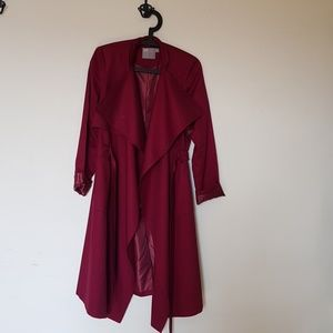 Asos deep red trench coat